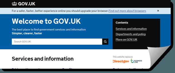 Bilde av toppen på det britisk forvaltning sitt felles nettsted Gov.uk.