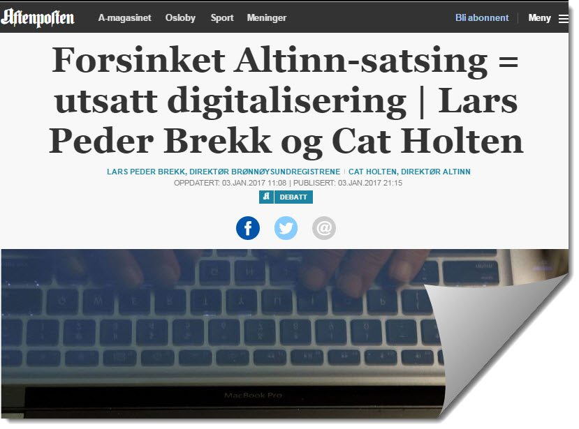 Faksimile av Aftenpostens nettutgave 3. januar 2017