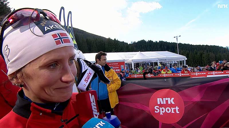 Bilde av Marit Bjørgen fra NRK-intervju etter en av mange seire.