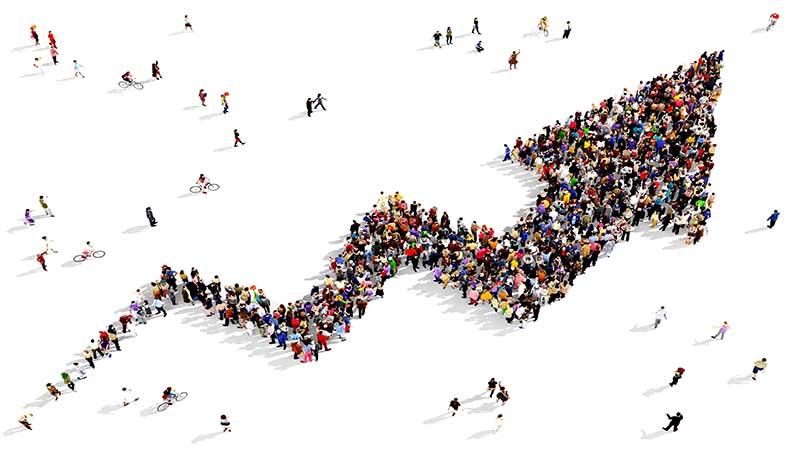 Bilde som viser mennesker som danner en voksende kurve.