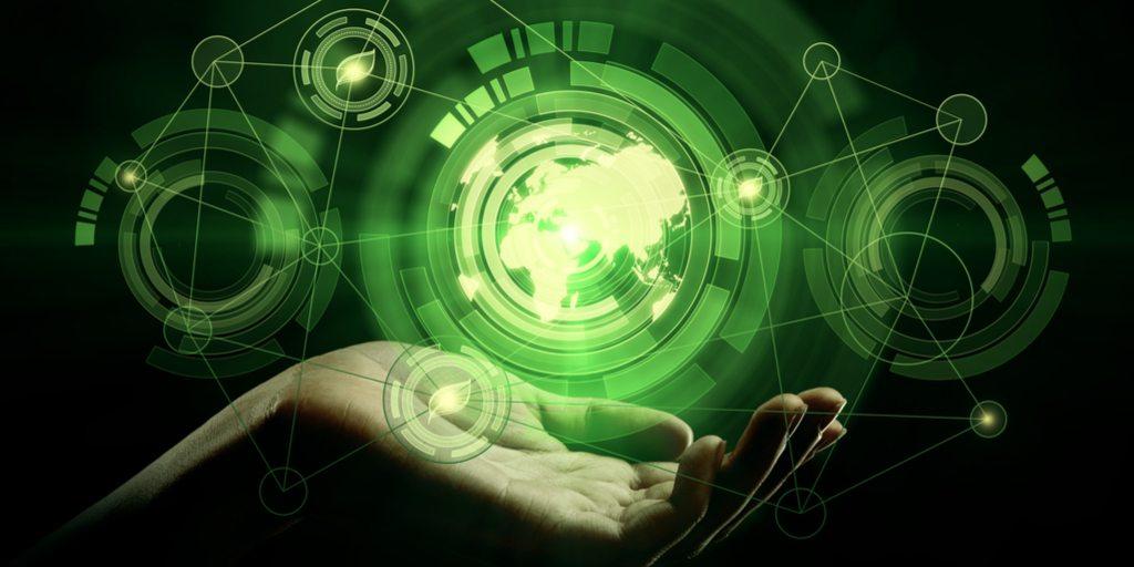 Bilde Hånd holder abstrakt grønn verden